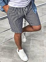 Лёгкие льняные шорты мужские в полоску черные с подворотом