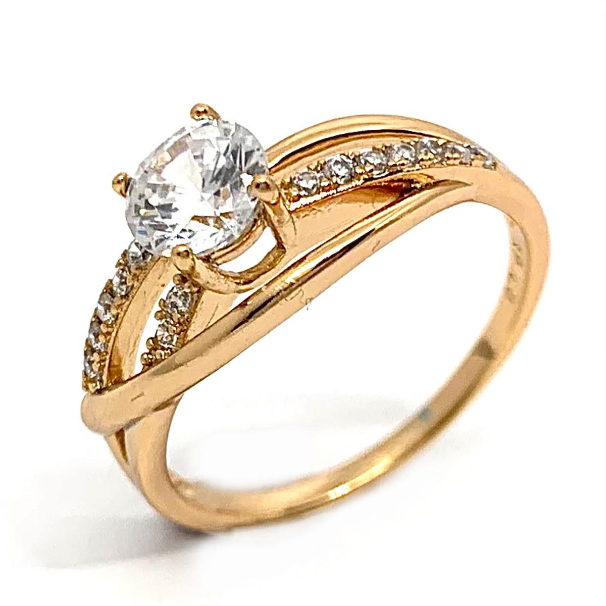 Кольцо Xuping из медицинского золота, белые фианиты, позолота 18K, 11954