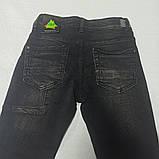 Джинсы демисезонные модные красивые оригинальные рваные чёрного цвета для мальчика., фото 2
