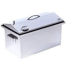 Коптильня двоярусна з гідрозатворів і термометром для гарячого копчення (520х300х310мм), нержавіюча сталь