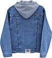 Куртка женская джинсовая с накладным трикотажным капюшоном Lady N, фото 3