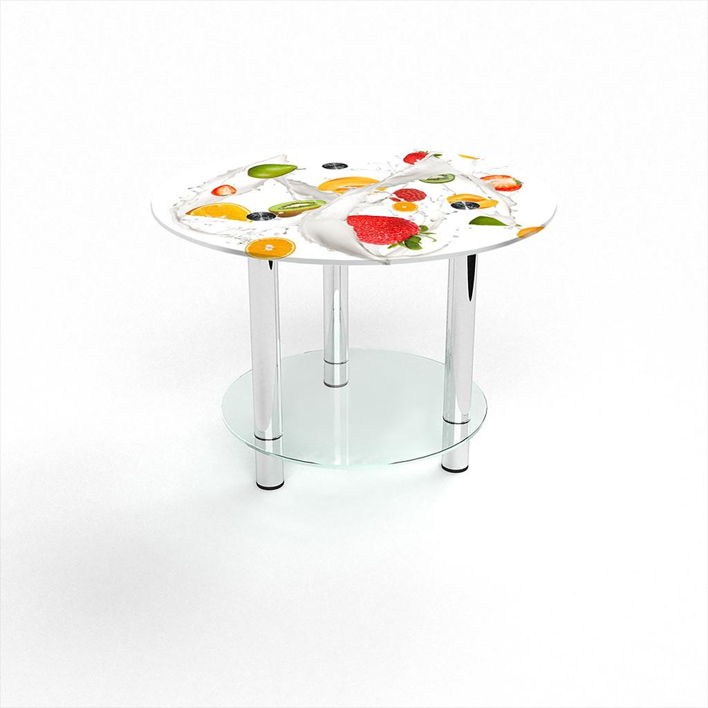 Стеклянный  стол журнальный столик из стекла БЦ Стол Круглый с полкой с фотопечатью Milkshake