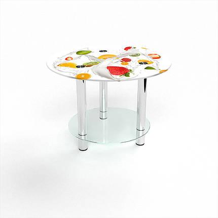 Стеклянный  стол журнальный столик из стекла БЦ Стол Круглый с полкой с фотопечатью Milkshake, фото 2