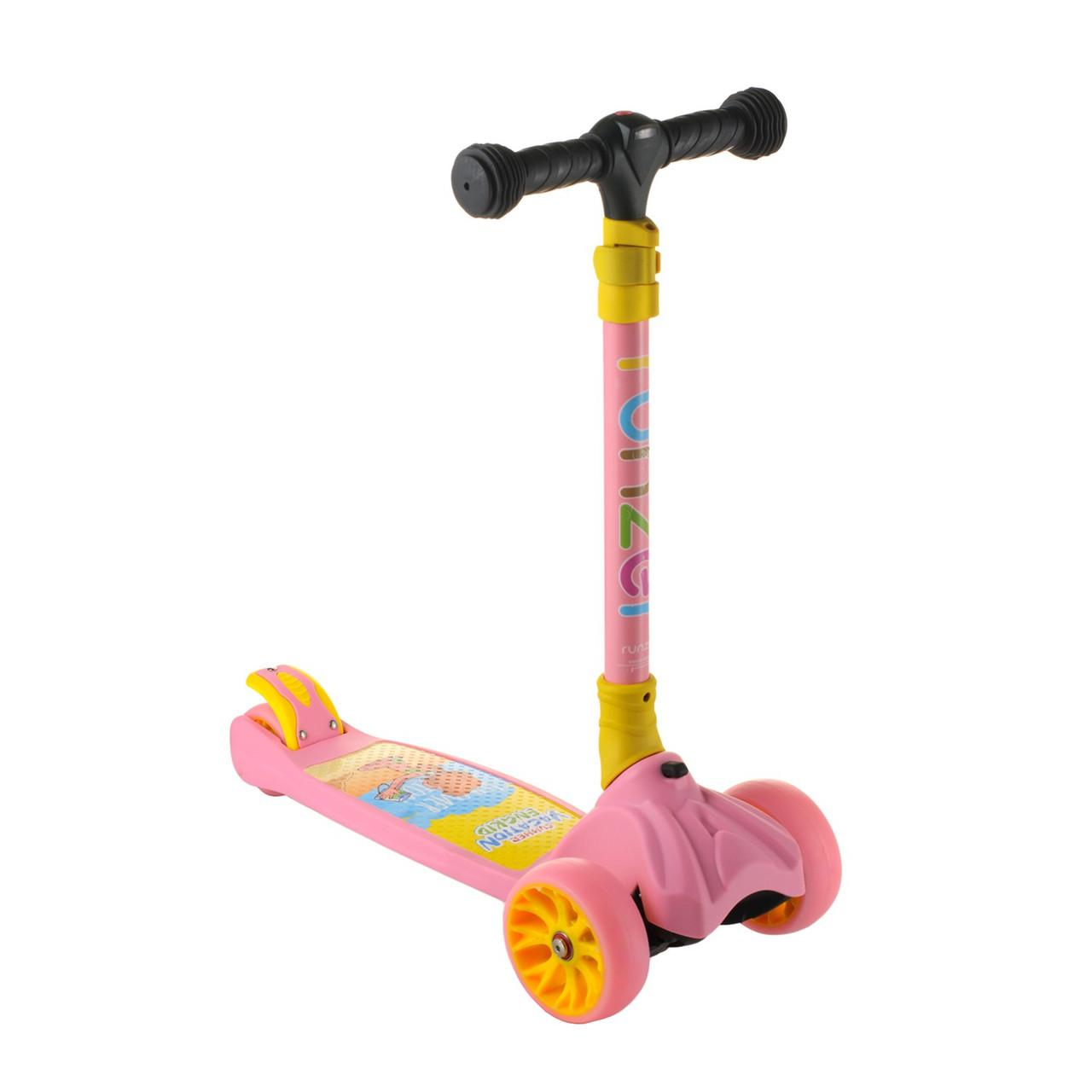 Детский складной самокат с фонариком   Детский розовый самокат 069