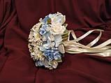 Свадебный букет-дублер из роз и орхидей голубой с молочным, фото 2