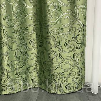 Комплект готових штор з люрексом 150x270 cm (2 шт) ALBO Зелені (SH-D15-4)