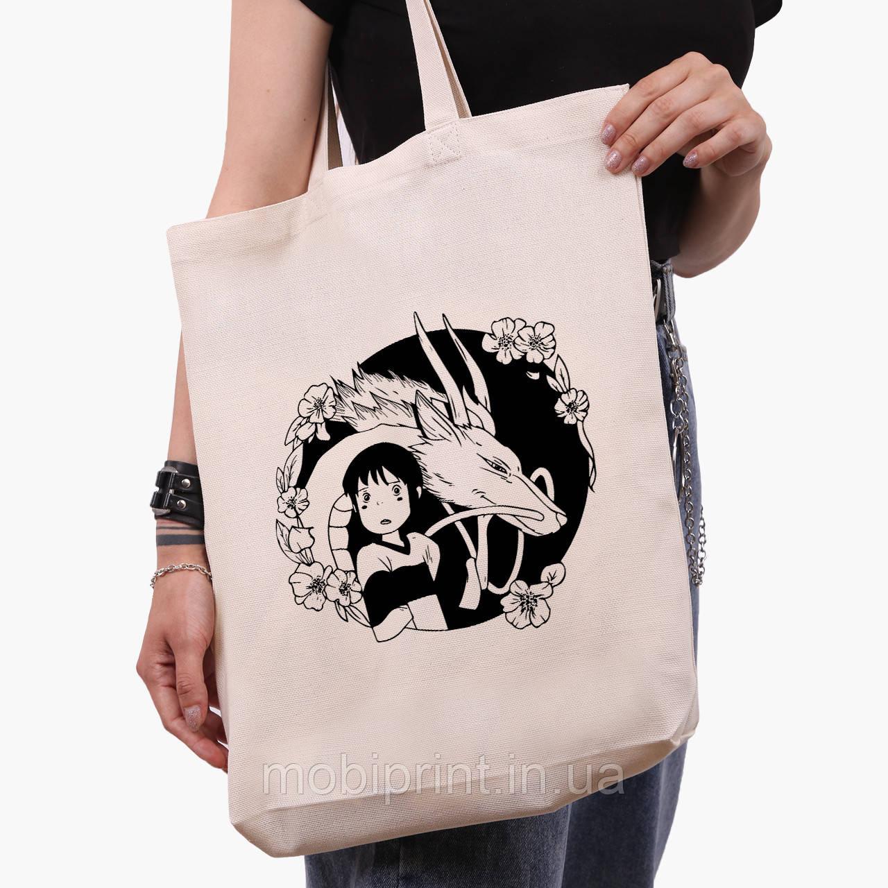 Еко сумка шоппер біла Тихиро Огино Сен і Хаку Віднесені примарами (Spirited Away) (9227-2647-1) 41*39*8 см