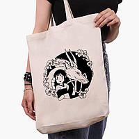 Еко сумка шоппер біла Тихиро Огино Сен і Хаку Віднесені примарами (Spirited Away) (9227-2647-1) 41*39*8 см, фото 1