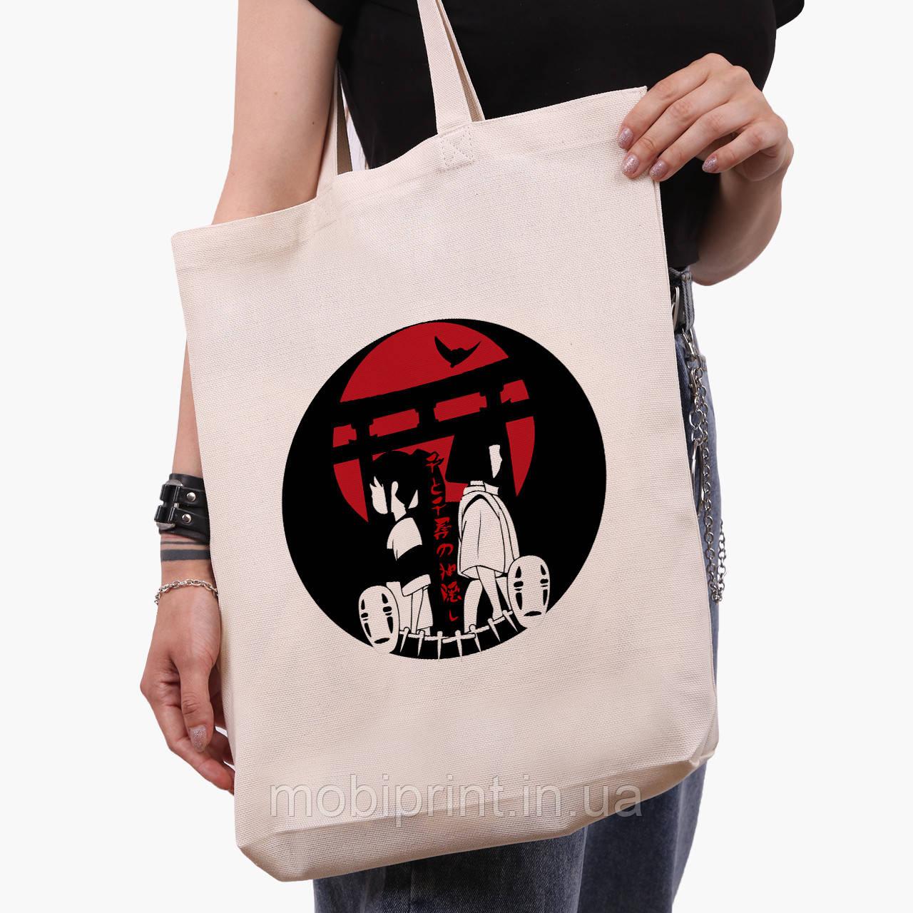 Эко сумка шоппер белая Тихиро Огино Сэн и Хаку Унесённые призраками (Spirited Away) (9227-2649-1)  41*39*8 см