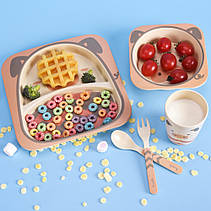 Дитячий посудний набіор бамбуковий 5 предметів Коровка HLS (4309), фото 3