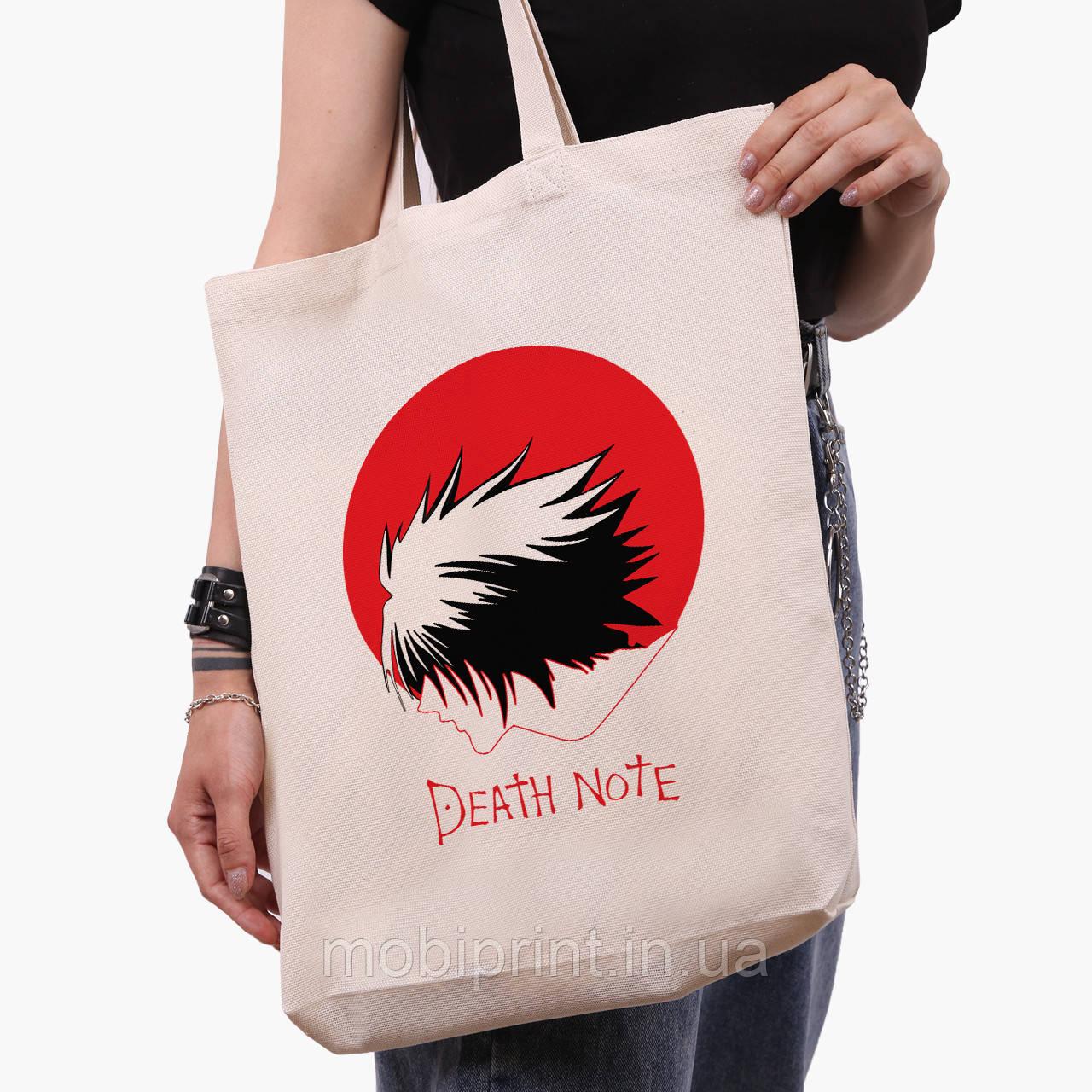 Еко сумка шоппер біла Ел Зошит смерті (Death Note) (9227-2653-1) 41*39*8 см