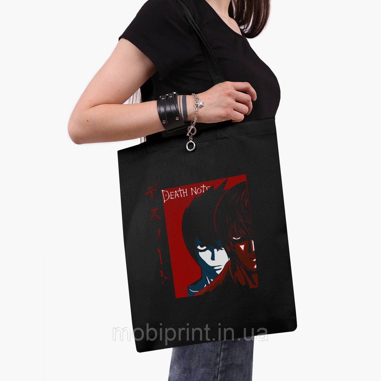 Еко сумка шоппер чорна Ел і Кіра Зошит смерті (Death Note) (9227-2655-2) 41*35 см