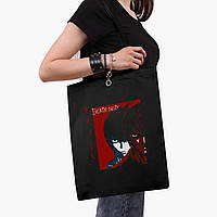 Еко сумка шоппер чорна Ел і Кіра Зошит смерті (Death Note) (9227-2655-2) 41*35 см, фото 1