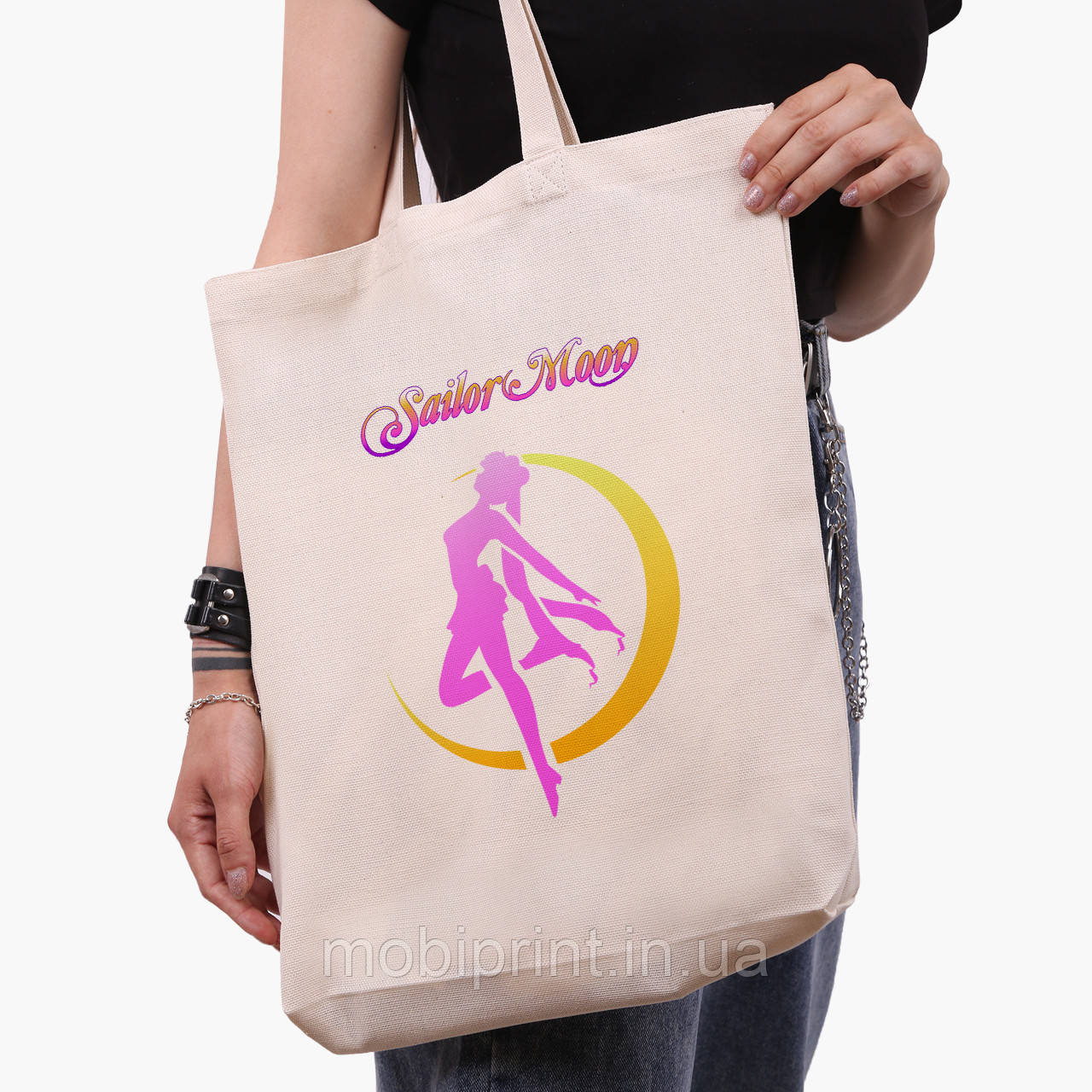 Еко сумка шоппер біла Сейлор Мун (Sailor Moon) (9227-2658-1) 41*39*8 см