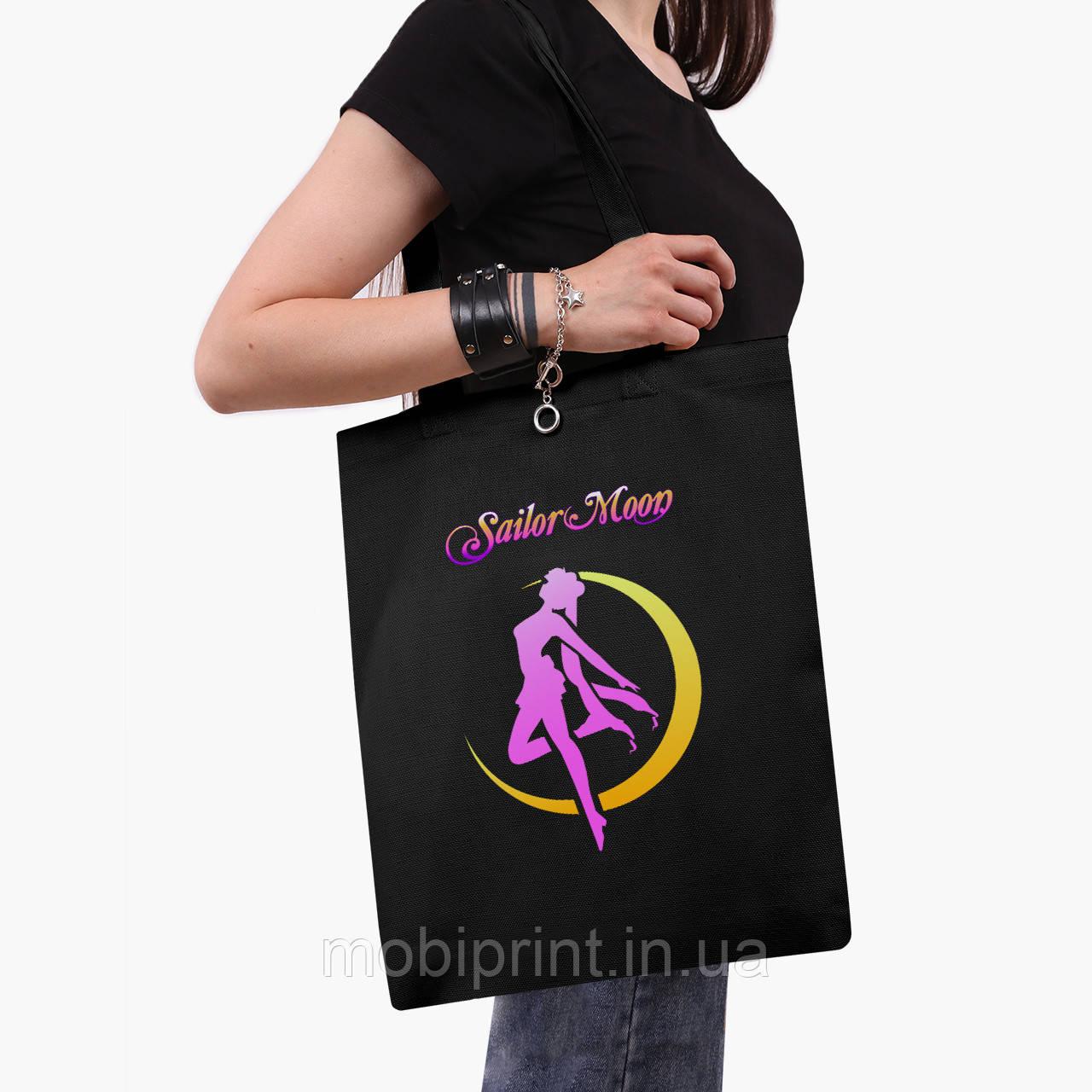 Еко сумка шоппер чорна Сейлор Мун (Sailor Moon) (9227-2658-2) 41*35 см