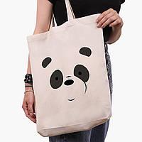 Эко сумка шоппер белая Панда Вся правда о медведях (We Bare Bears) (9227-2661-1)  41*39*8 см, фото 1