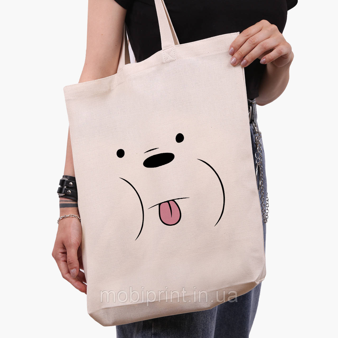 Эко сумка шоппер белая Белый медведь Вся правда о медведях (We Bare Bears) (9227-2662-1)  41*39*8 см