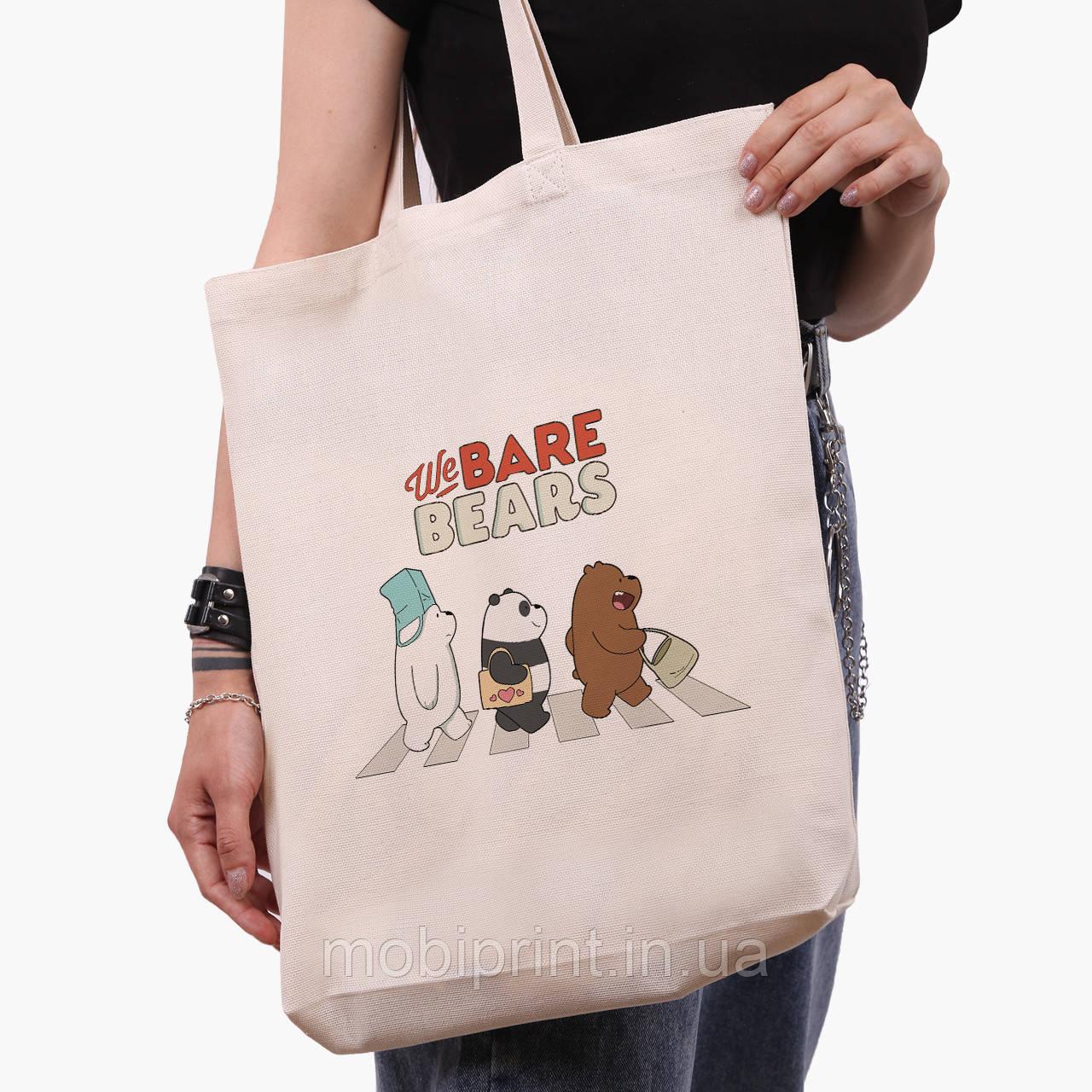 Еко сумка шоппер біла Вся правда про ведмедів (We Bare Bears) (9227-2666-1) 41*39*8 см
