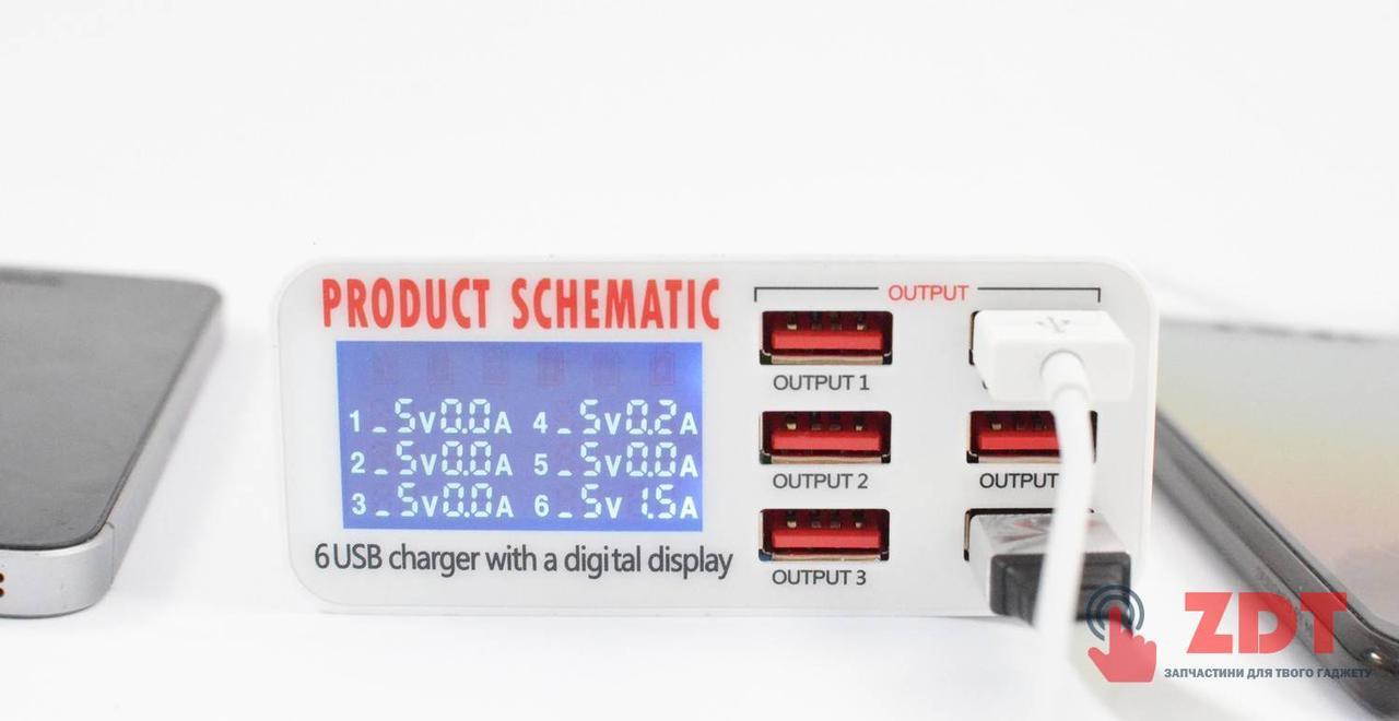 Зарядний пристрій 5 USB 5V 2,4 А 1 USB Quick Charge Model. 896