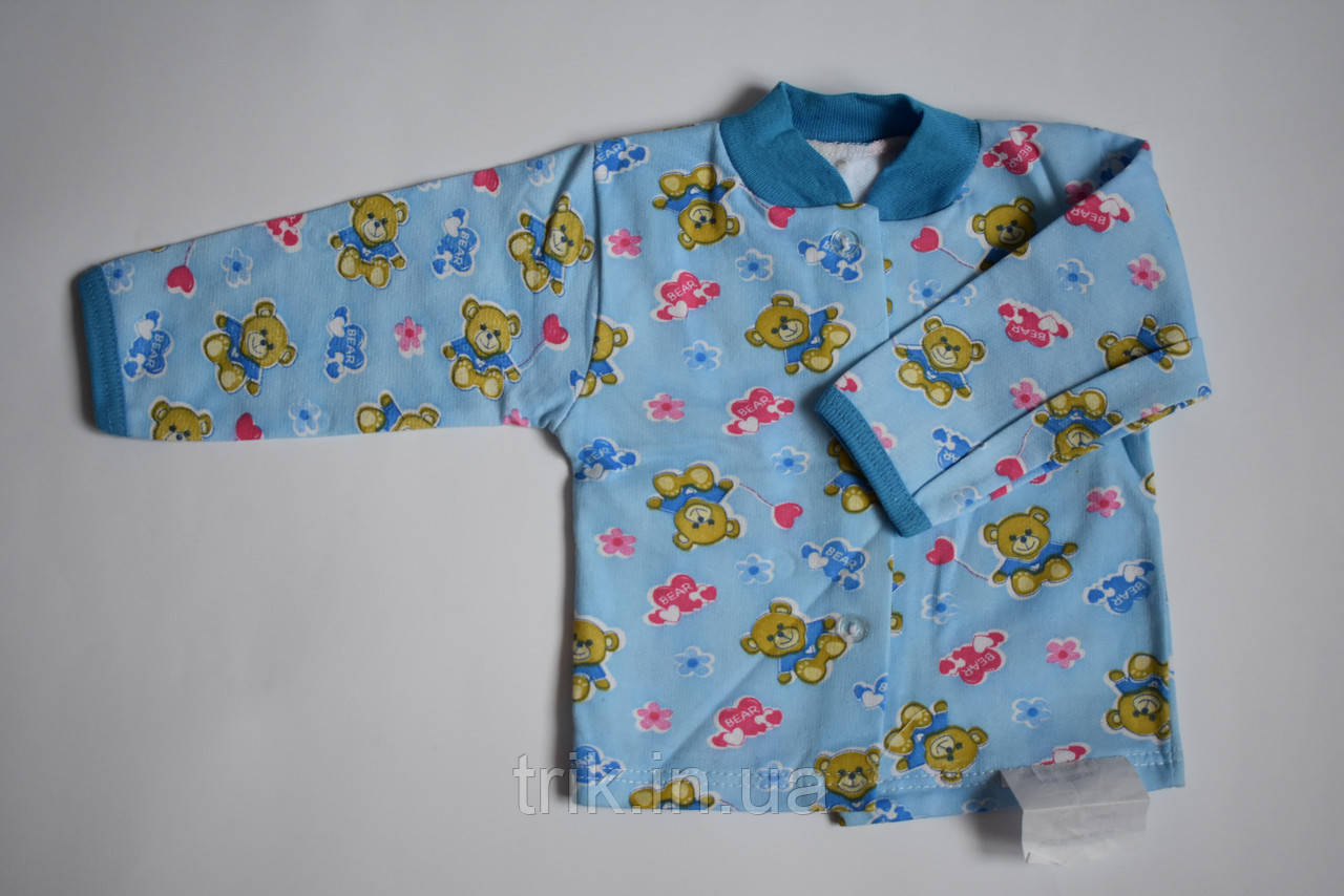 Кофта для новорожденных начес мишки на голубом