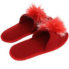 Тапочки женские меховые красные на мягкой подошве для дома р.37-40