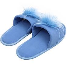 Тапочки женские меховые голубые на мягкой подошве для дома стильные утепленные р.37-40