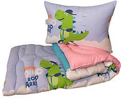 Одеяло детское лебяжий пух полуторное 145х215  Крокодильчик + 1 подушка 50х70