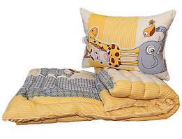 Одеяло детское лебяжий пух полуторное 145х215  Жираф + 1 подушка 50х70