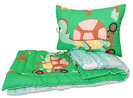 Одеяло детское лебяжий пух полуторное 145х215  Черепашка + 1 подушка 50х70