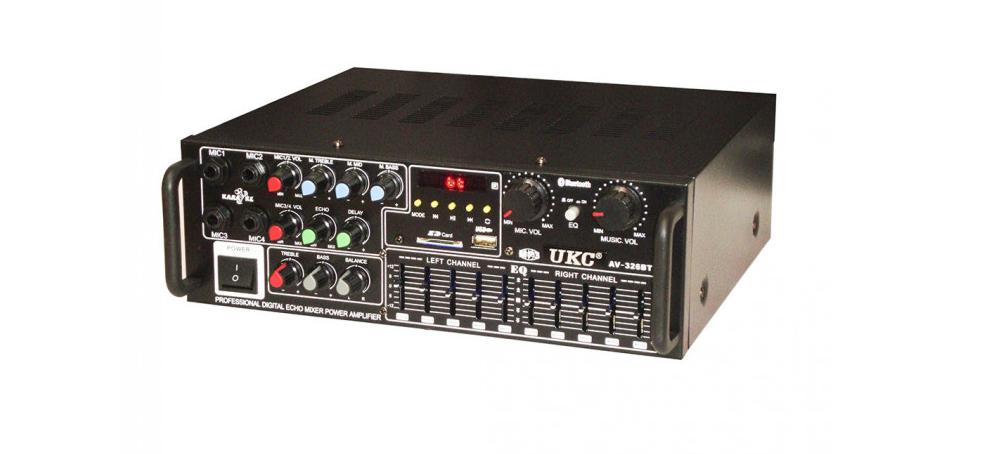 Усилитель звука для неактивных колонок вместе с эквалайзером  c караоке и Bluetooth UKC AMP AV-326BT 2*120W