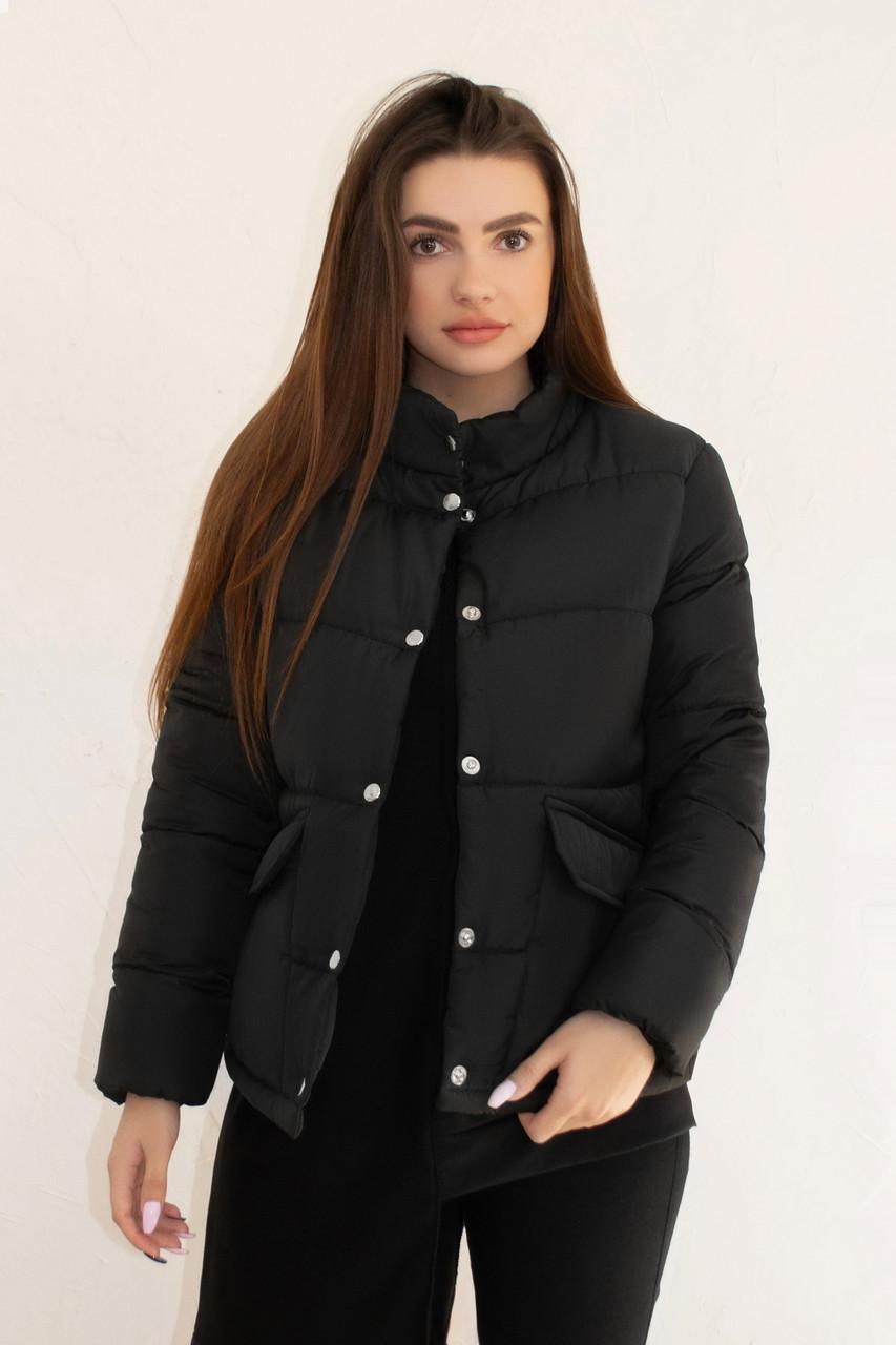 Женская черная классическая зимняя куртка