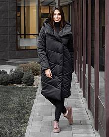 Женская черная зимняя куртка пальто с капюшоном
