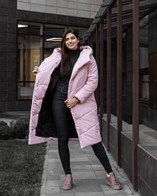 Женская светло розовая зимняя куртка пальто