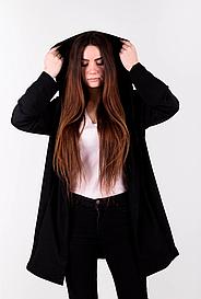 Женская черная мантия с капюшоном