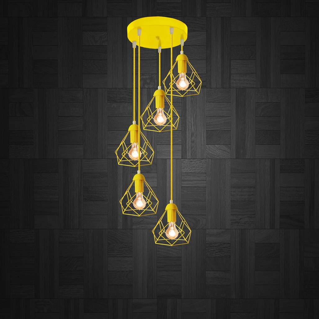 Підвісна люстра на 5 ламп RUBY-5G E27 на круглій основі, жовтий