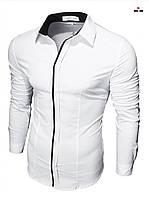 Сорочка приталені біла чоловіча з довгим рукавом, однотонна