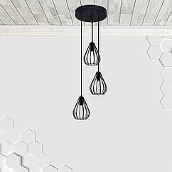 Підвісна люстра на 3-лампи FANTASY-3G E27 на круглій основі, чорний