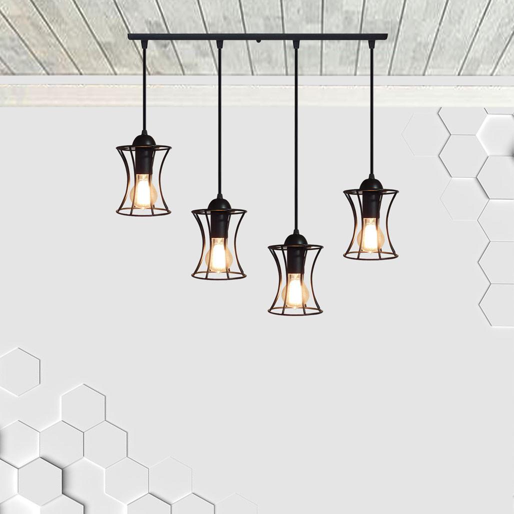 Подвесная люстра на 4-лампы SANDBOX-4 E27 чёрный