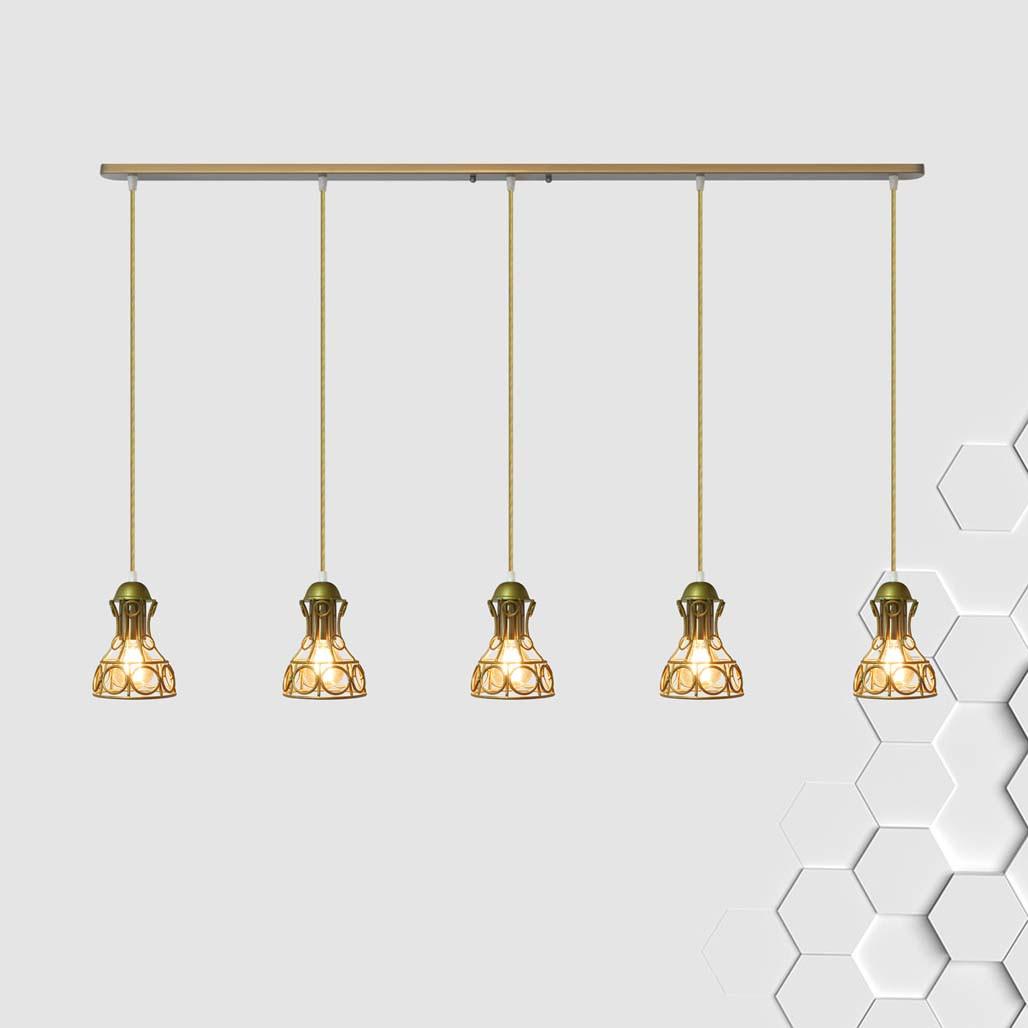 Підвісна люстра на 5 ламп RINGS-5 E27 золото