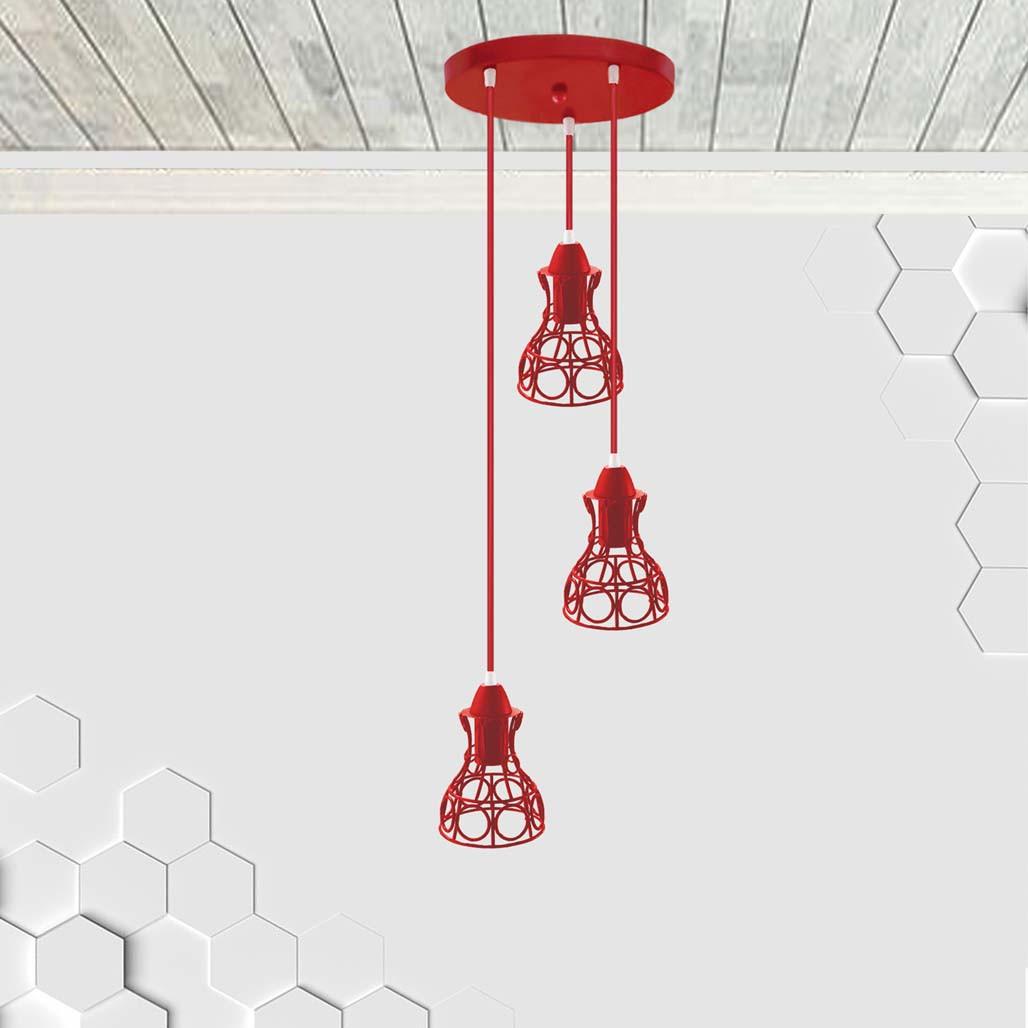 Подвесная люстра на 3-лампы RINGS-3G E27 на круглой основе, красный