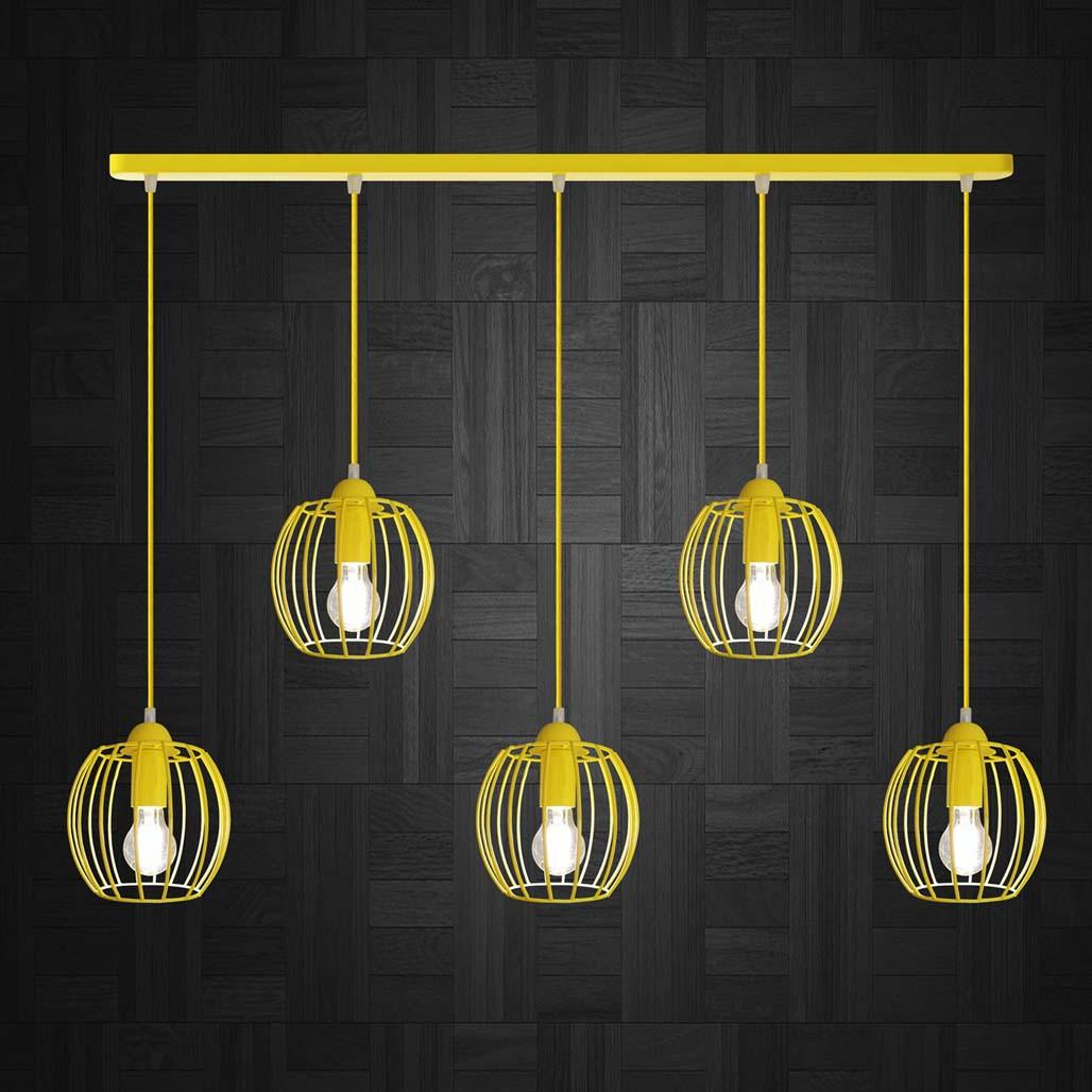 Підвісна люстра на 5 ламп BARREL-5 E27 жовтий