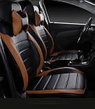 Чехлы на сиденья ВАЗ Лада Калина 2118 (VAZ Lada Kalina 2118) модельные MAX-L из экокожи Черно-коричневый, фото 5