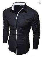 Сорочка чоловіча стильна приталені чорна з довгим рукавом, однотонна