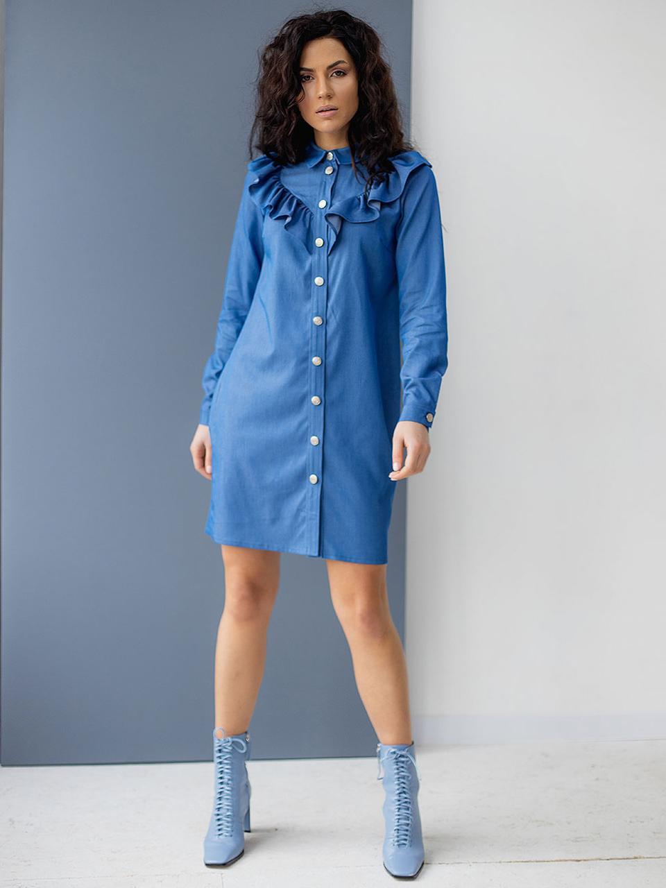 Джинсовое платье-рубашка с рюшами. Модель 3071. Размер 44