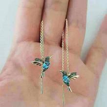 Серьги женские золотистые Колибри