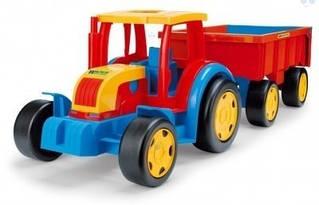Машинка трактор гигант с прицепом Wader 66100