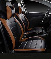 Чехлы на сиденья Митсубиси Аутлендер (Mitsubishi Outlander) модельные MAX-L из экокожи Черно-коричневый, фото 1