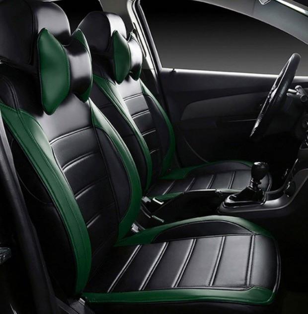 Чехлы на сиденья Митсубиси Лансер 10 (Mitsubishi Lancer 10) модельные MAX-L из экокожи Черно-зеленый