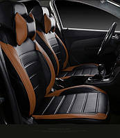 Чехлы на сиденья Митсубиси Лансер 10 (Mitsubishi Lancer 10) модельные MAX-L из экокожи Черно-коричневый, фото 1
