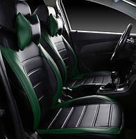 Чехлы на сиденья Хендай Матрикс (Hyundai Matrix) 2002 - ... г модельные MAX-L из экокожи Черно-зеленый